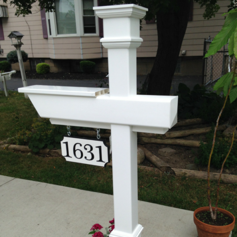 A Kensington Mailbox Post, pre-assembled before customer collection