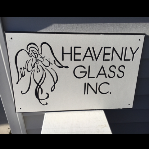 Custom black and white sign with angel for Heavenly Glass Inc.