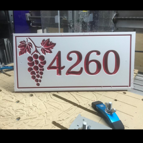 Custom house number sign with grapes in white-red-white color core
