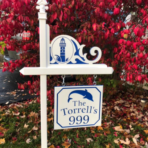 Custom house number sign with name and dolphin, plus lighthouse corner accent in white-blue-white color core