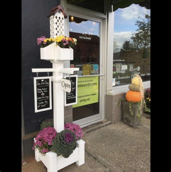 Custom project for Union Tea Cafe with planter tower and engraved Open sign