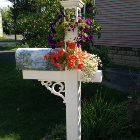 Customized planter Mailbox Post with dreamy cutouts, planter on the extended arm and colonial scroll, installed 1998