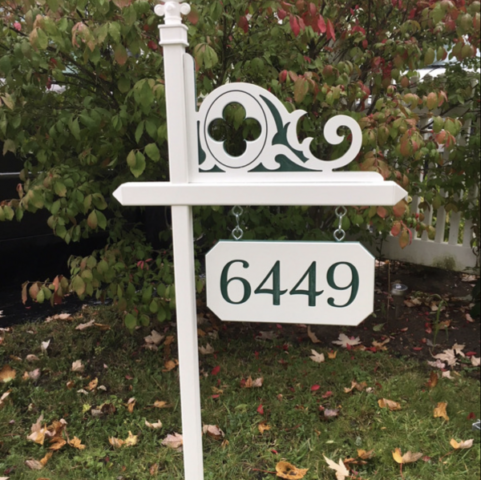 Lawn sign with green and white Celtic corner and green and white custom engraved house number sign